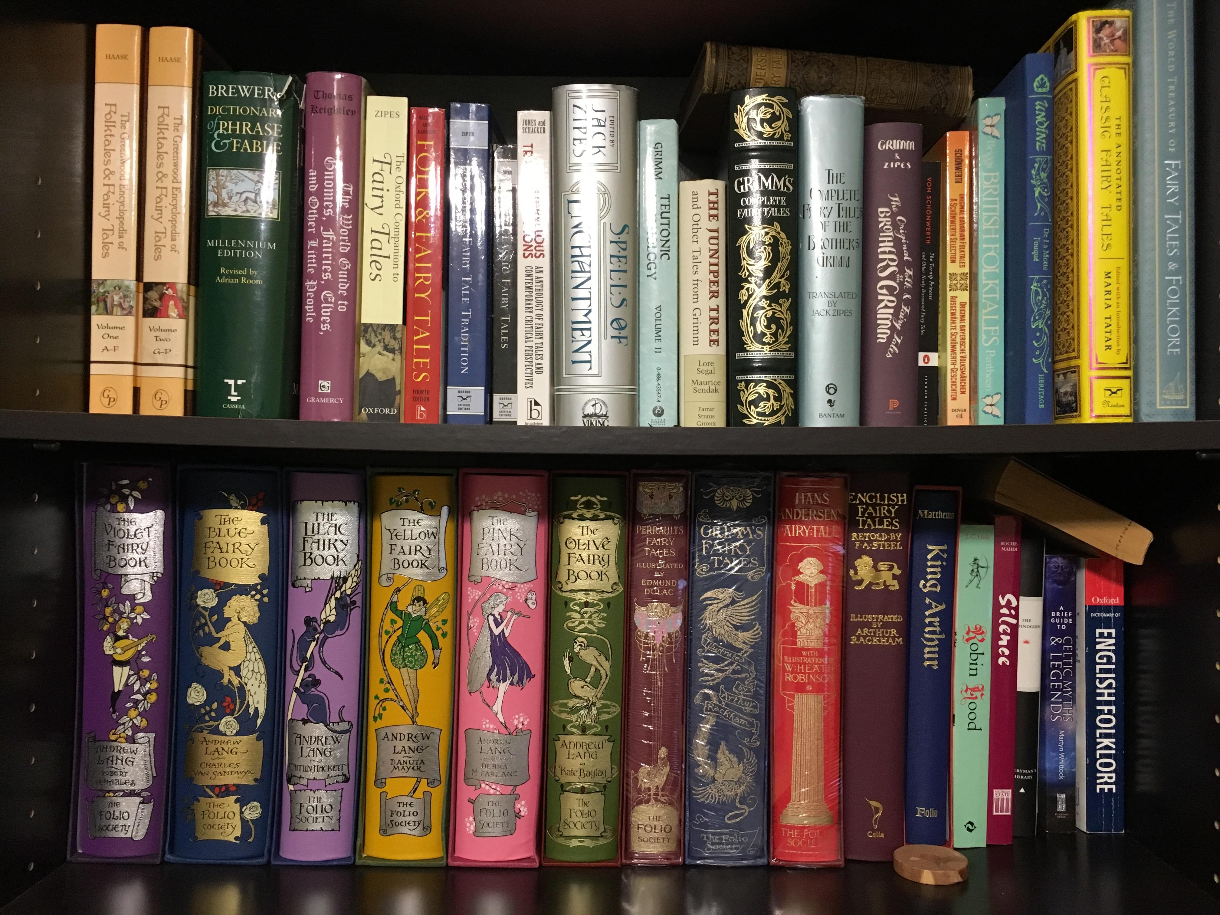Shelves of fairy tale books.